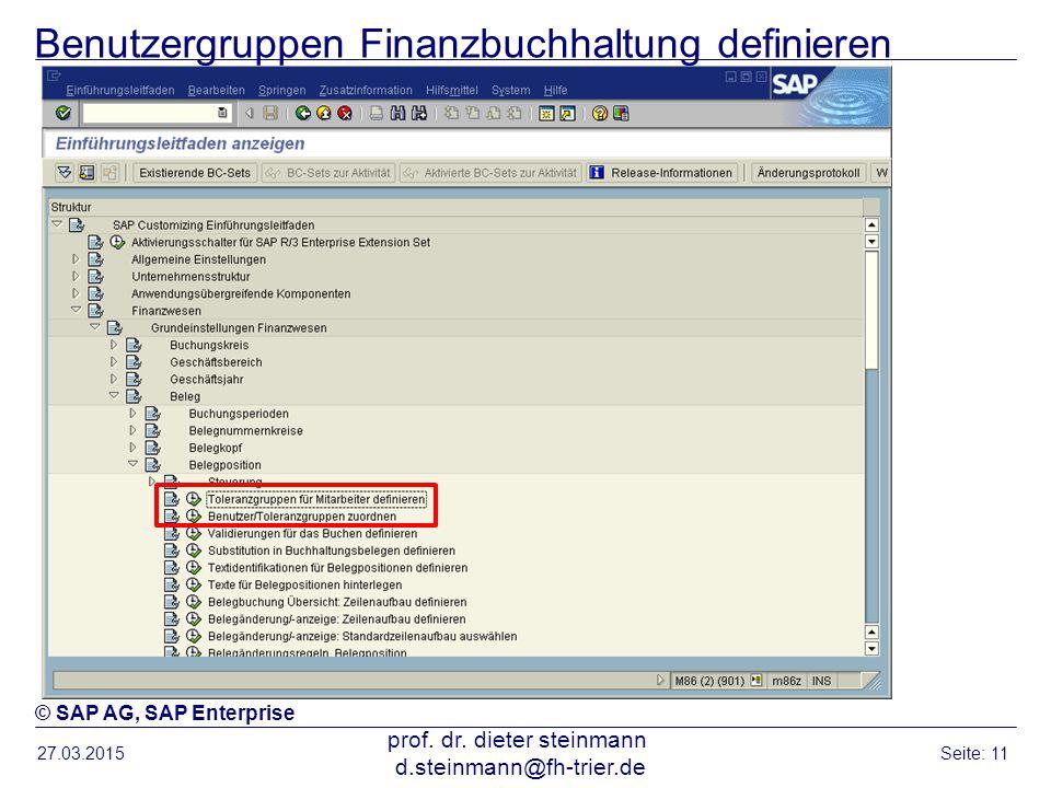 Benutzergruppen Finanzbuchhaltung definieren