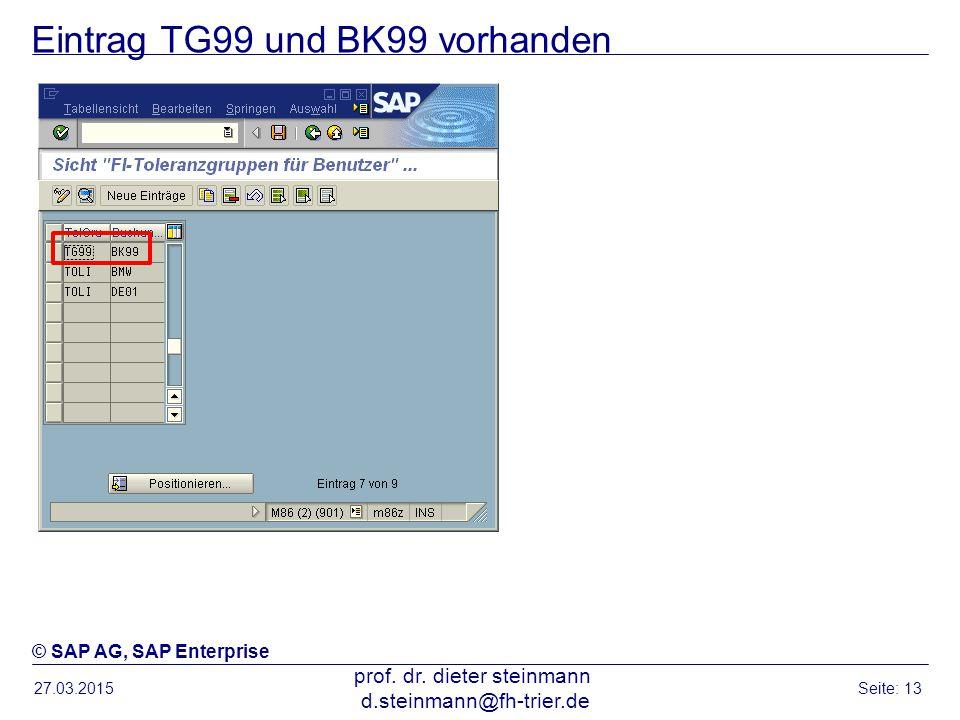 Eintrag TG99 und BK99 vorhanden