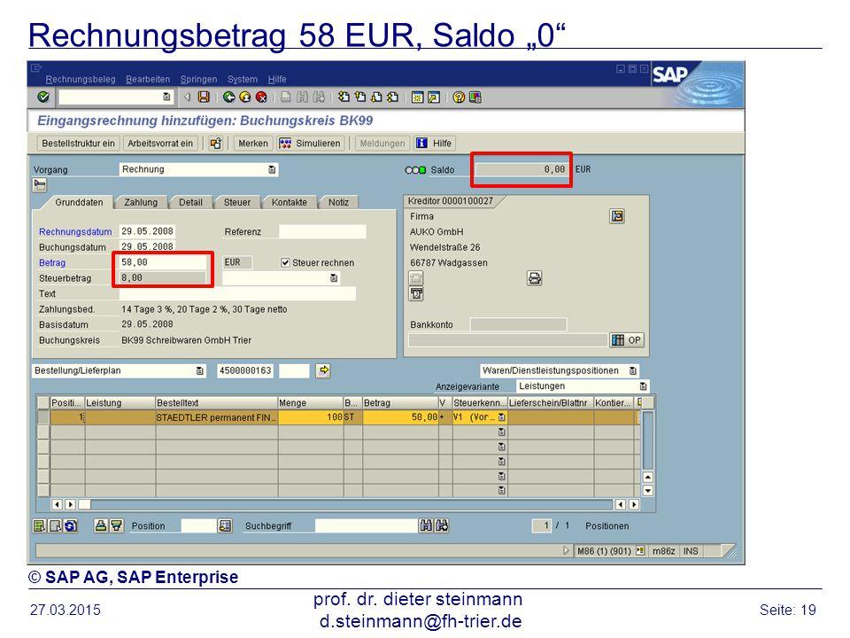 """Rechnungsbetrag 58 EUR, Saldo """"0"""