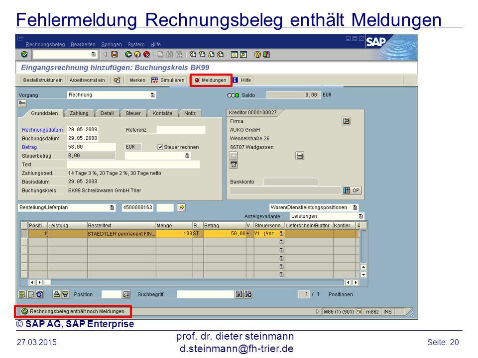 Fehlermeldung Rechnungsbeleg enthält Meldungen