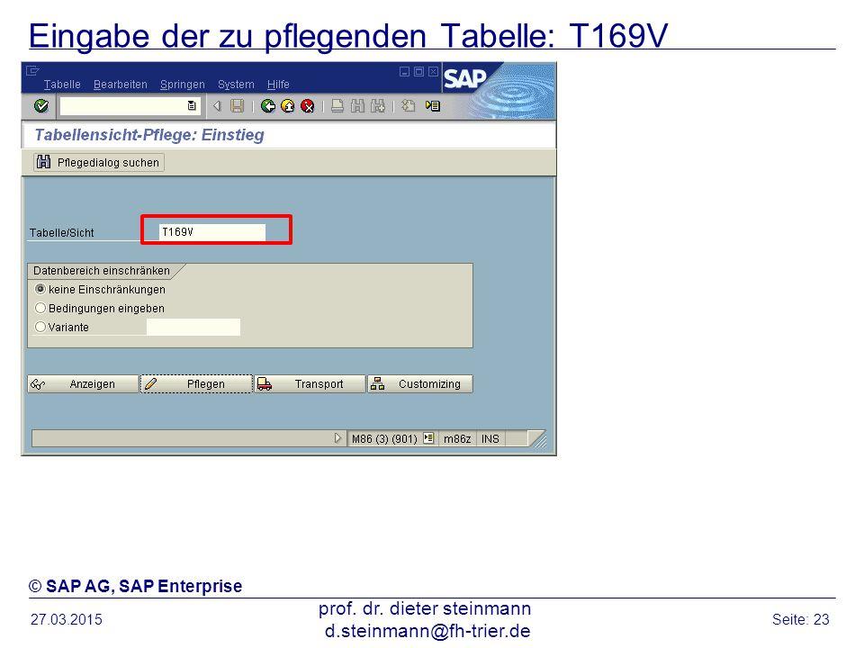 Eingabe der zu pflegenden Tabelle: T169V
