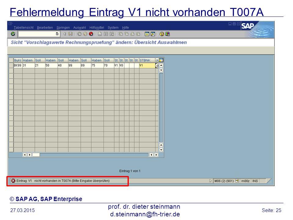 Fehlermeldung Eintrag V1 nicht vorhanden T007A