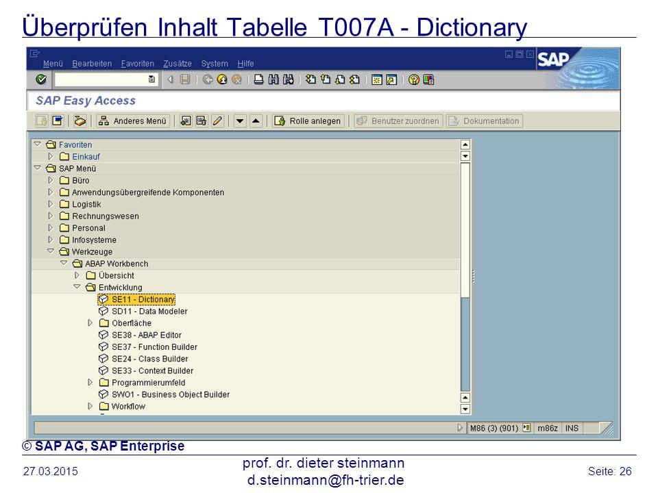 Überprüfen Inhalt Tabelle T007A - Dictionary