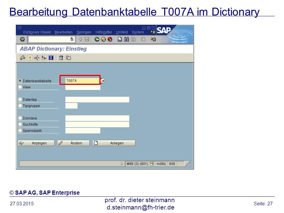 Bearbeitung Datenbanktabelle T007A im Dictionary