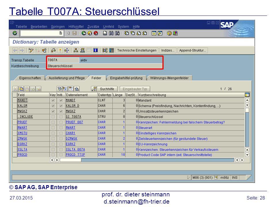 Tabelle T007A: Steuerschlüssel