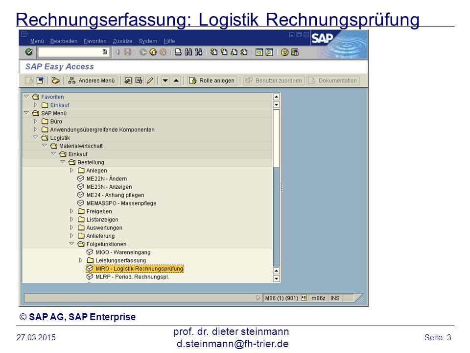 Rechnungserfassung: Logistik Rechnungsprüfung