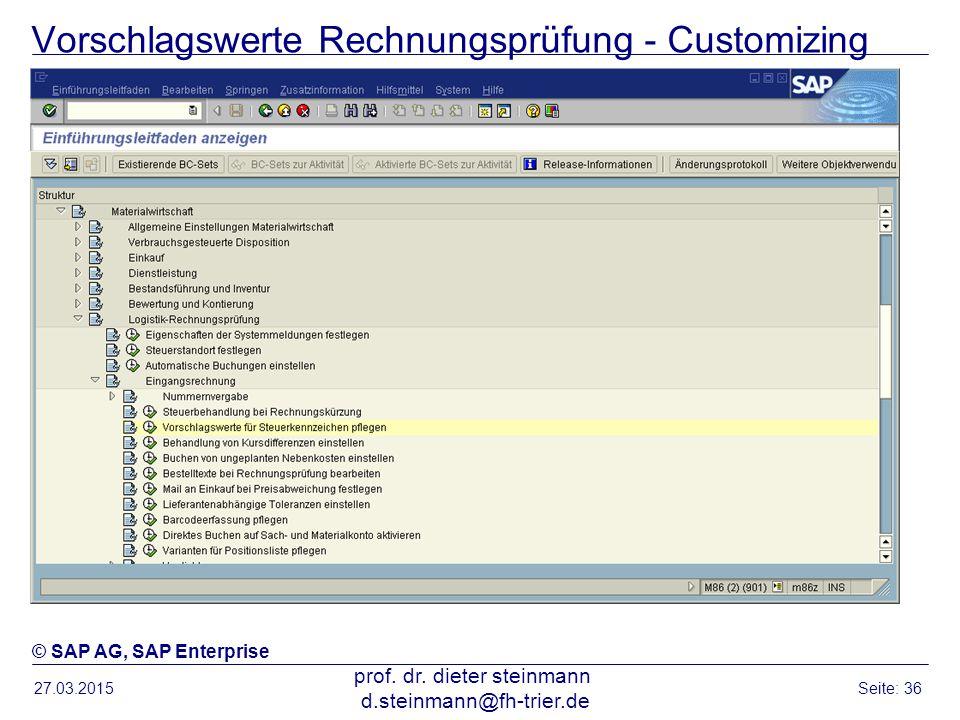 Vorschlagswerte Rechnungsprüfung - Customizing
