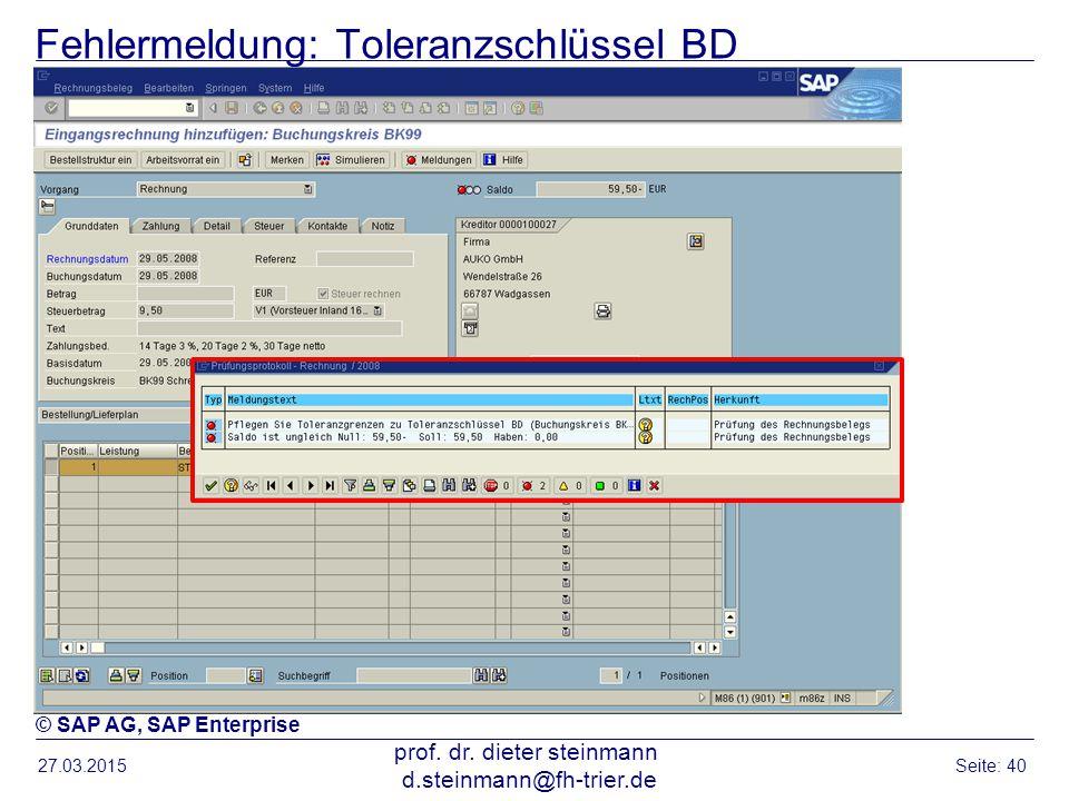 Fehlermeldung: Toleranzschlüssel BD