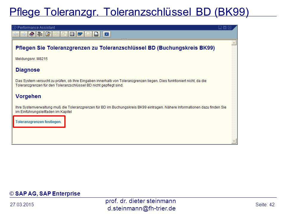 Pflege Toleranzgr. Toleranzschlüssel BD (BK99)