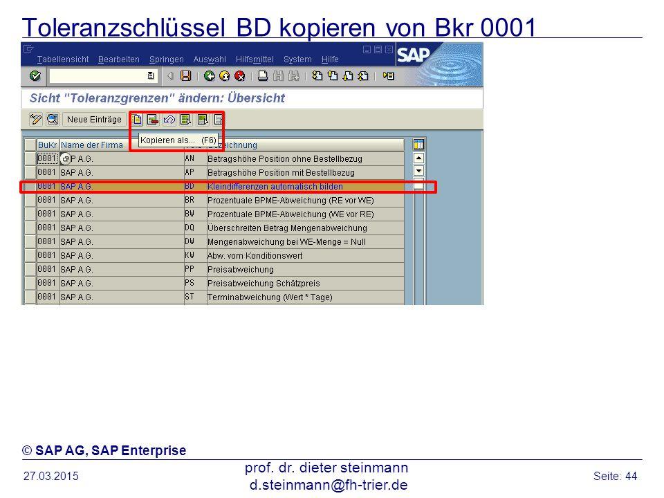 Toleranzschlüssel BD kopieren von Bkr 0001
