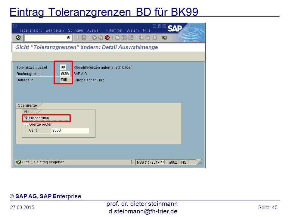 Eintrag Toleranzgrenzen BD für BK99