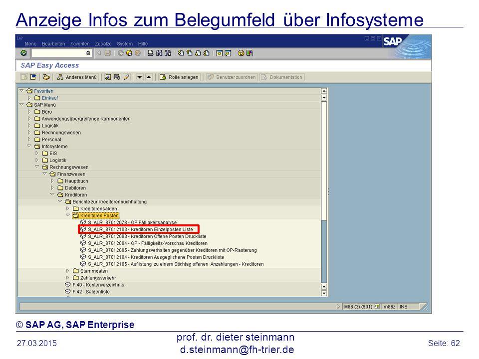 Anzeige Infos zum Belegumfeld über Infosysteme