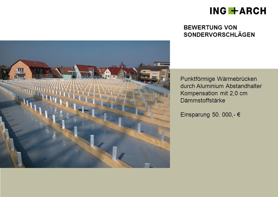 BEWERTUNG VON SONDERVORSCHLÄGEN. Punktförmige Wärmebrücken. durch Aluminium Abstandhalter. Kompensation mit 2,0 cm.
