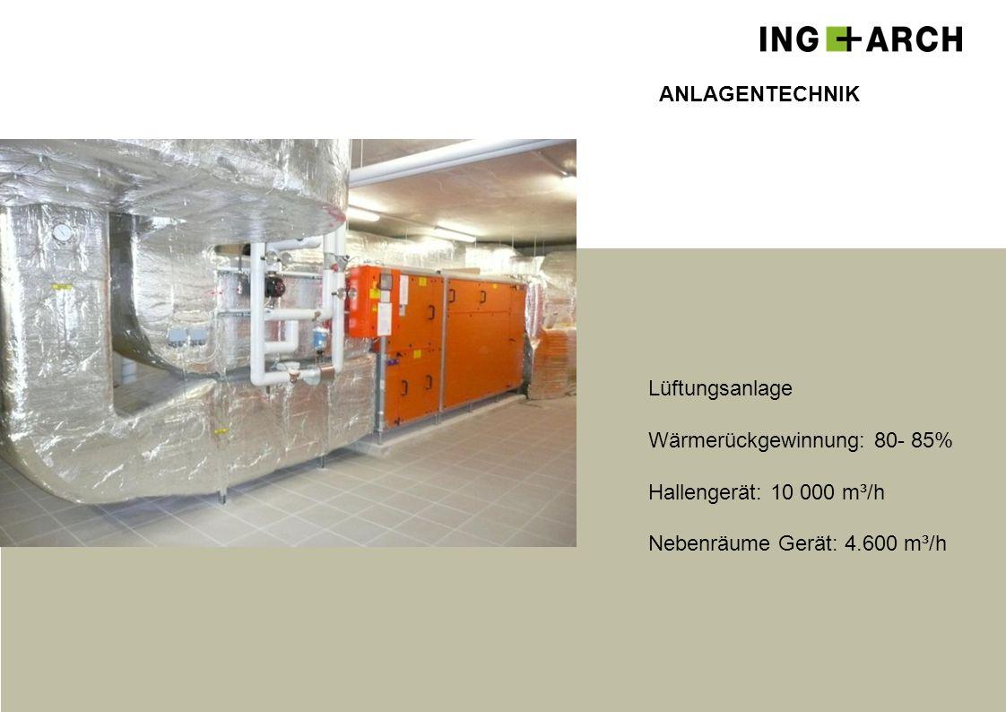 ANLAGENTECHNIK Lüftungsanlage. Wärmerückgewinnung: 80- 85% Hallengerät: 10 000 m³/h.