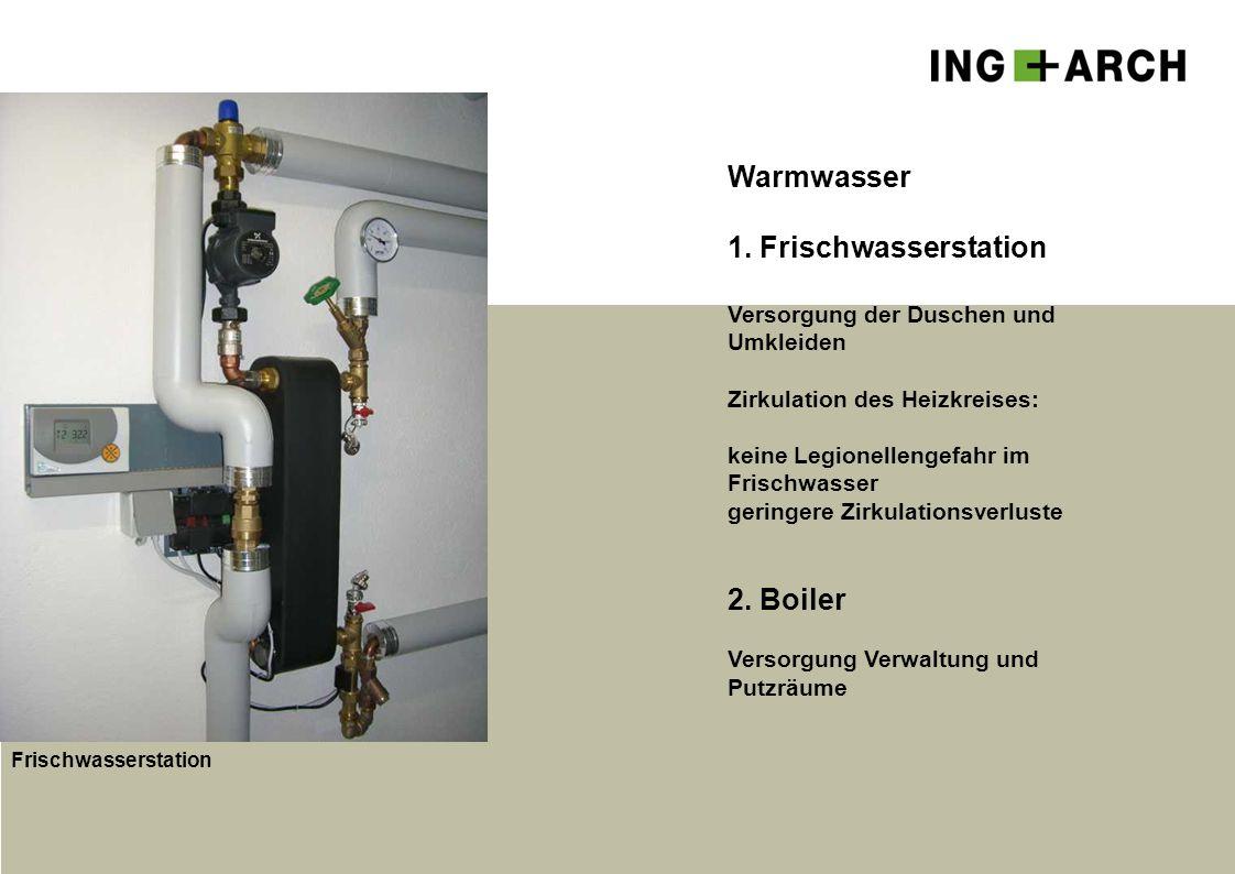 Warmwasser 1. Frischwasserstation 2. Boiler