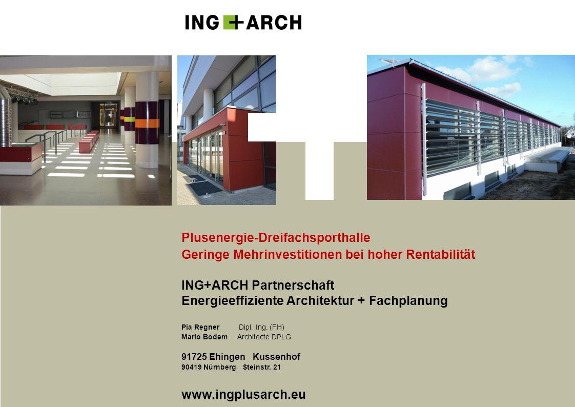 Plusenergie-Dreifachsporthalle Geringe Mehrinvestitionen bei hoher Rentabilität ING+ARCH Partnerschaft Energieeffiziente Architektur + Fachplanung Pia Regner Dipl.