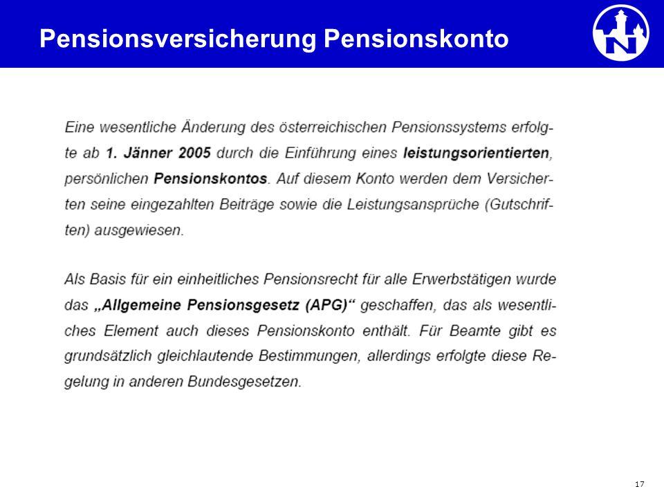 Pensionsversicherung Pensionskonto