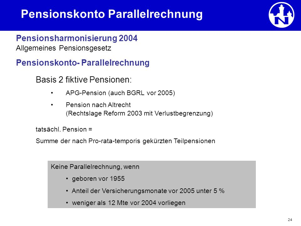 Pensionskonto Parallelrechnung