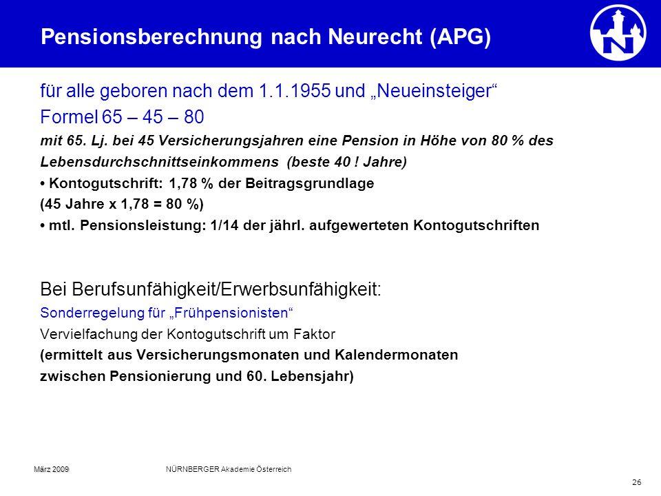 Pensionsberechnung nach Neurecht (APG)