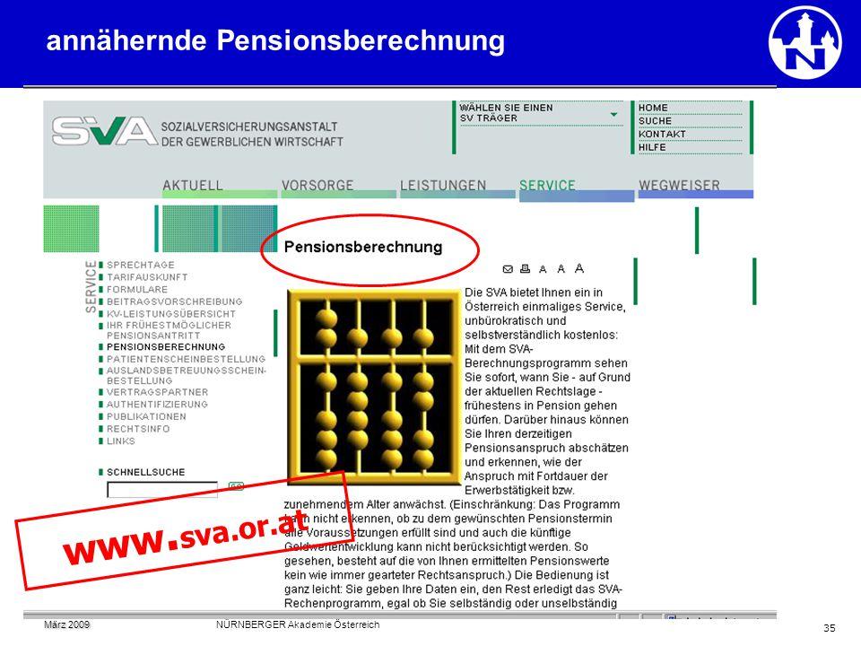 www.sva.or.at annähernde Pensionsberechnung