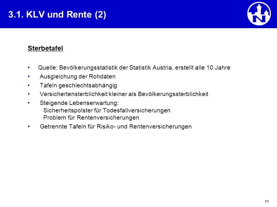 3.1. KLV und Rente (2) Sterbetafel