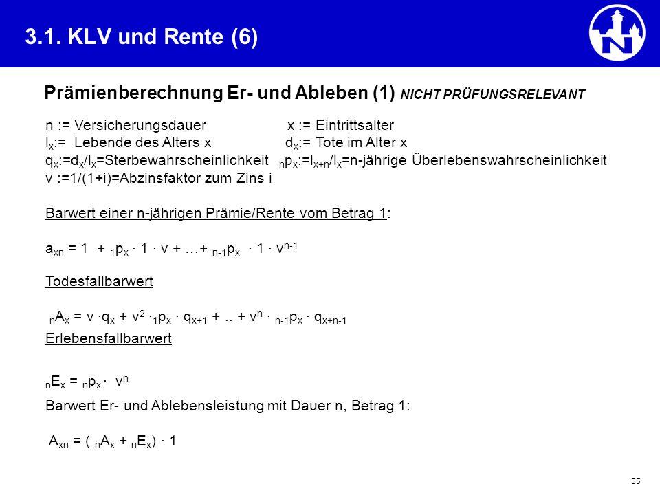 3.1. KLV und Rente (6) Prämienberechnung Er- und Ableben (1) NICHT PRÜFUNGSRELEVANT. n := Versicherungsdauer x := Eintrittsalter.