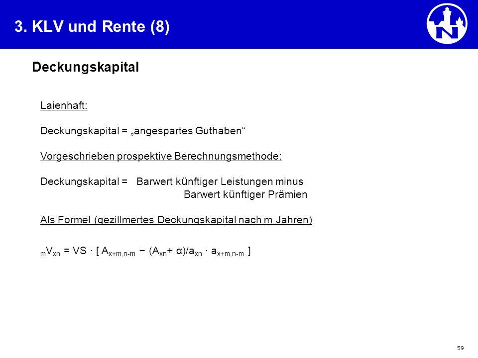 3. KLV und Rente (8) Deckungskapital Laienhaft: