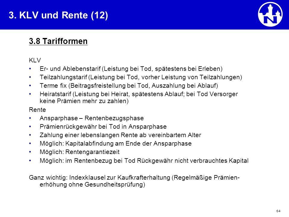 3. KLV und Rente (12) 3.8 Tarifformen KLV