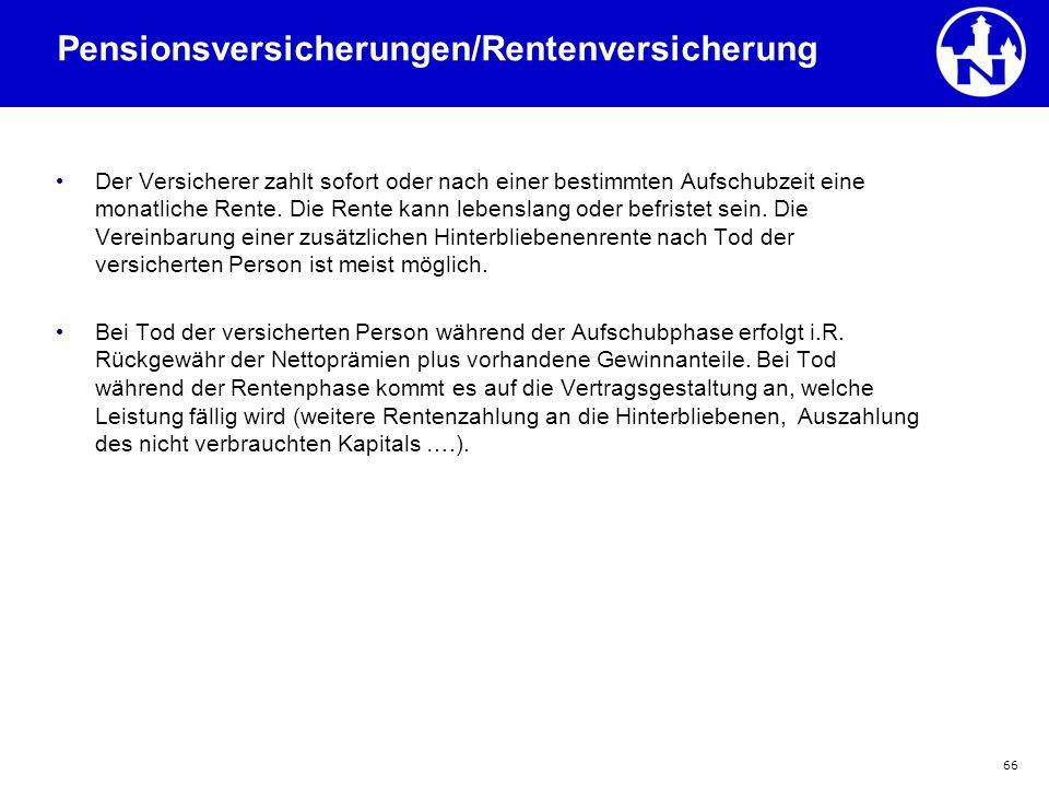 Pensionsversicherungen/Rentenversicherung