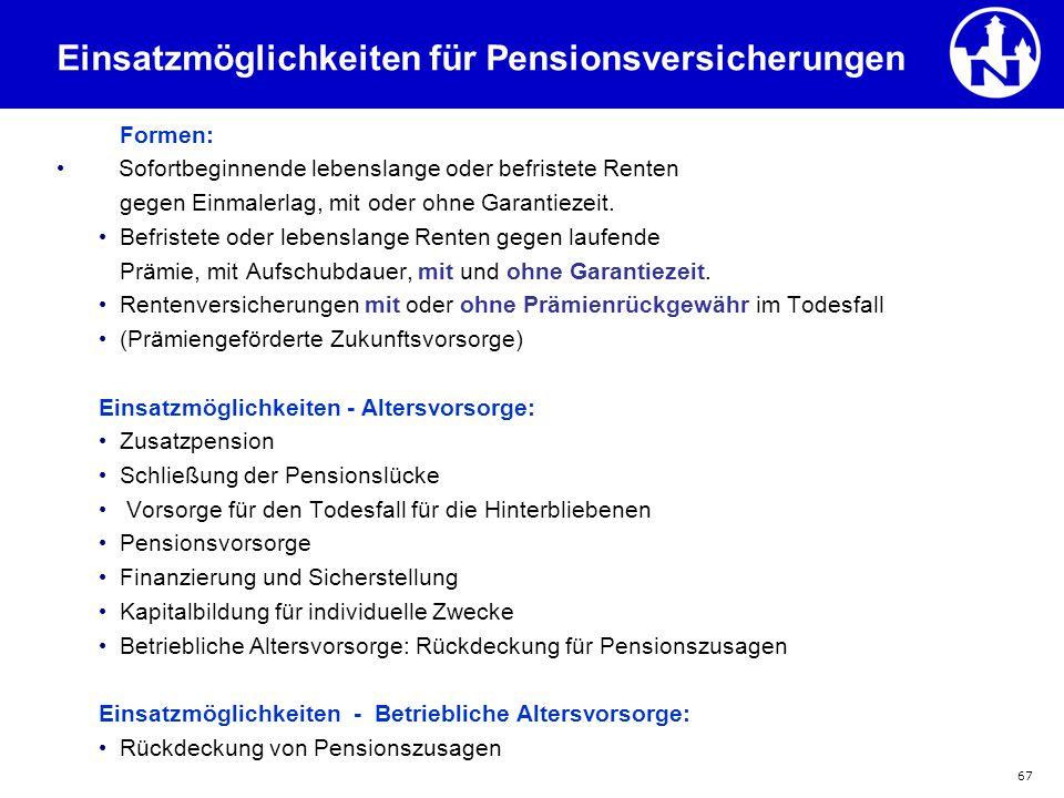 Einsatzmöglichkeiten für Pensionsversicherungen