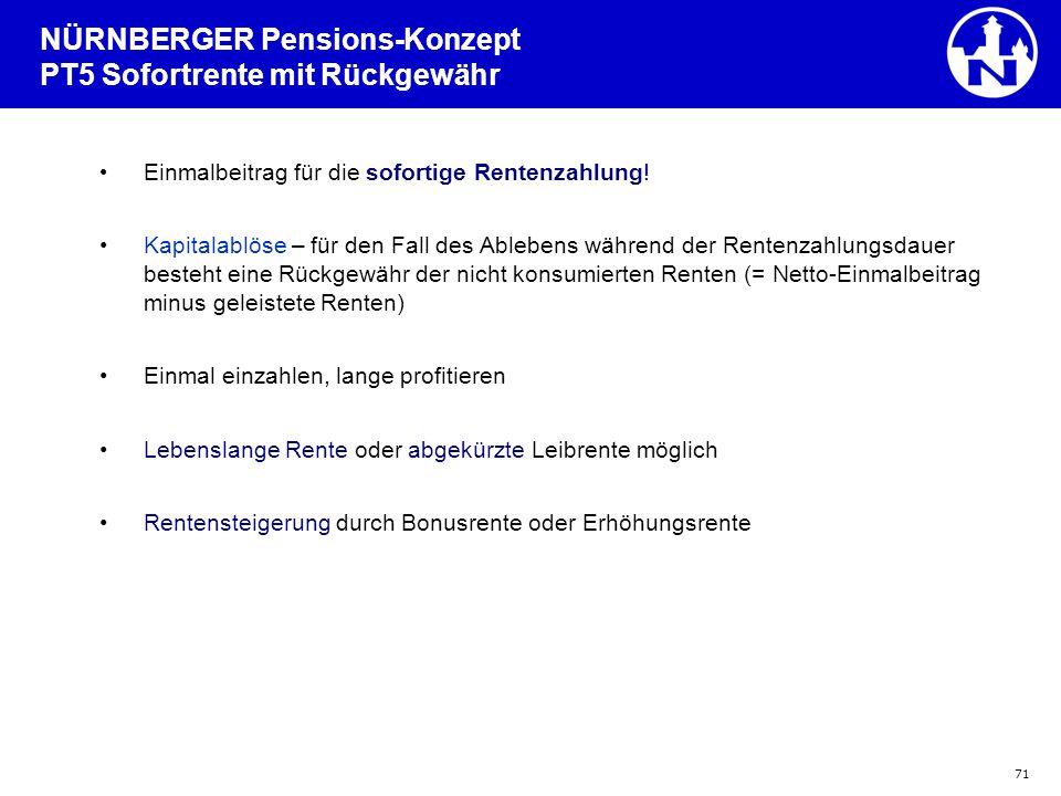 NÜRNBERGER Pensions-Konzept PT5 Sofortrente mit Rückgewähr
