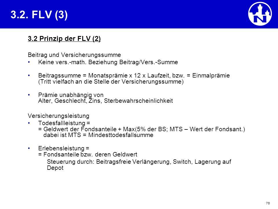 3.2. FLV (3) 3.2 Prinzip der FLV (2) Beitrag und Versicherungssumme