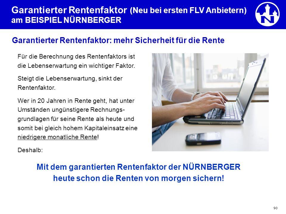 Garantierter Rentenfaktor (Neu bei ersten FLV Anbietern) am BEISPIEL NÜRNBERGER