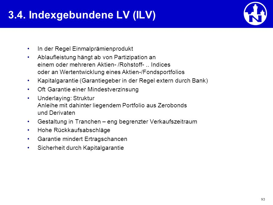 3.4. Indexgebundene LV (ILV)