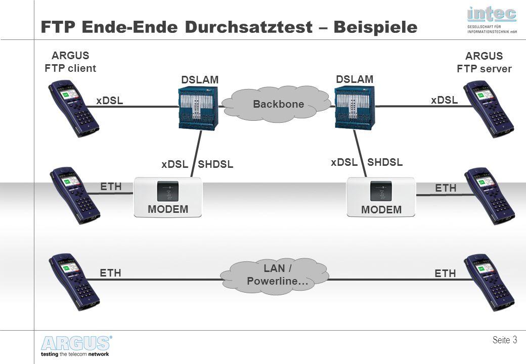 FTP Ende-Ende Durchsatztest – Beispiele