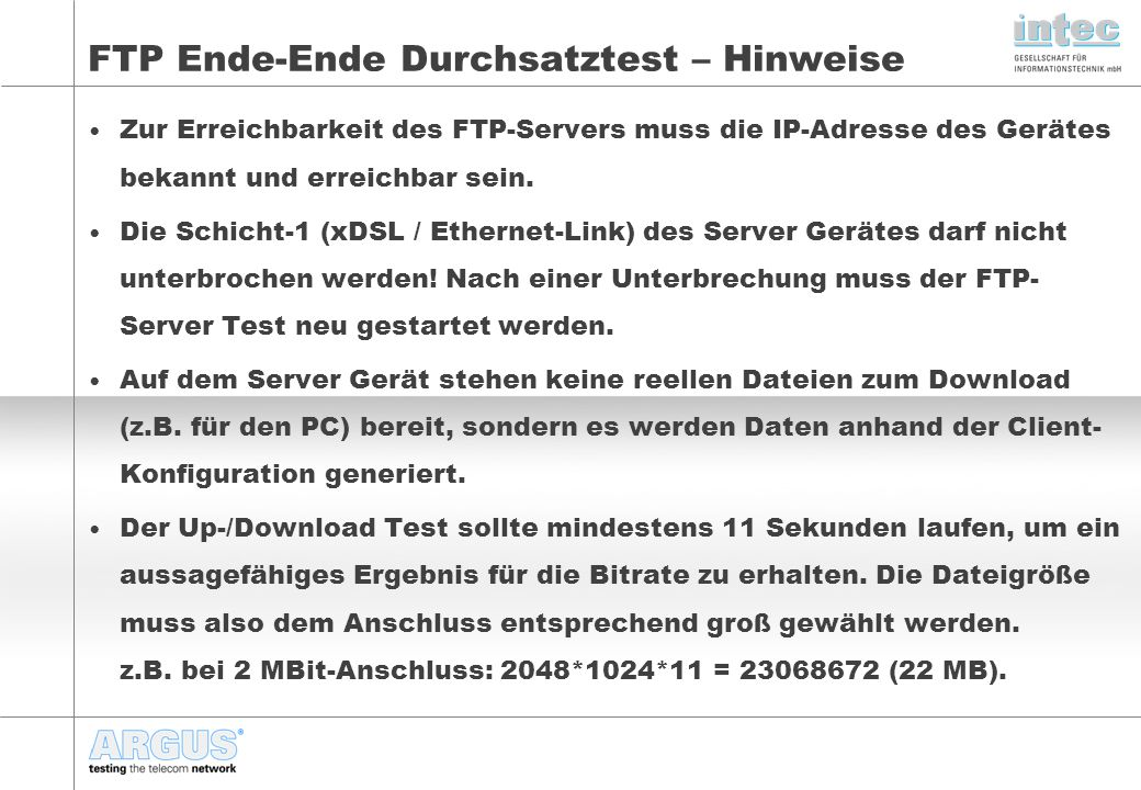 FTP Ende-Ende Durchsatztest – Hinweise