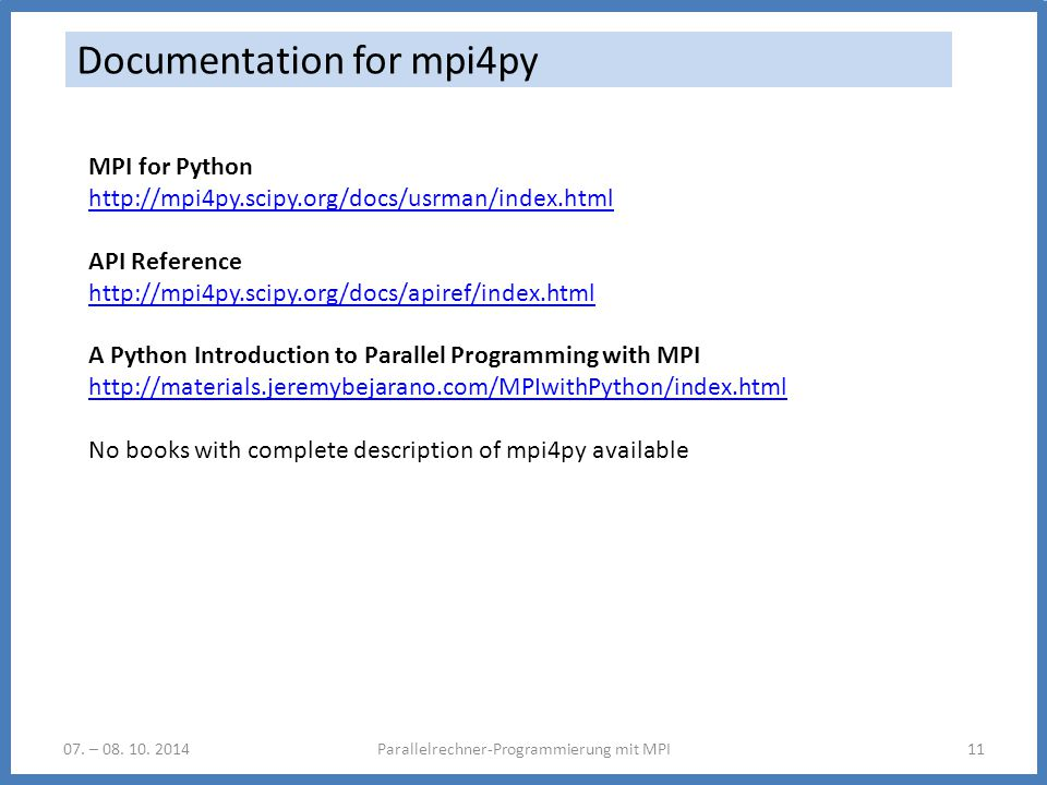 Documentation for mpi4py