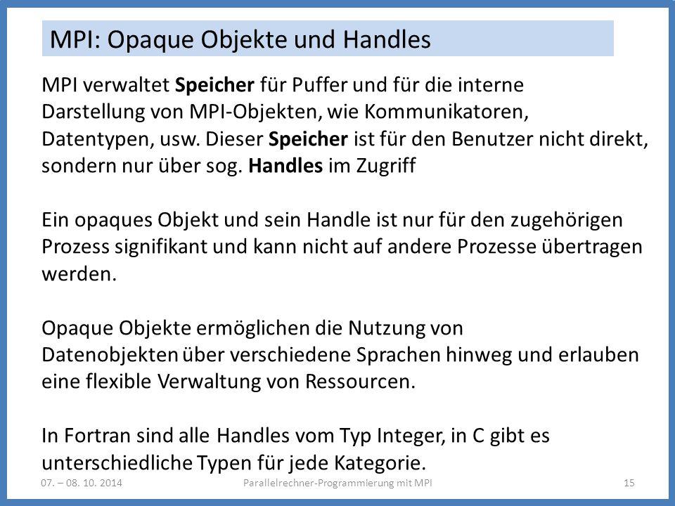 MPI: Opaque Objekte und Handles