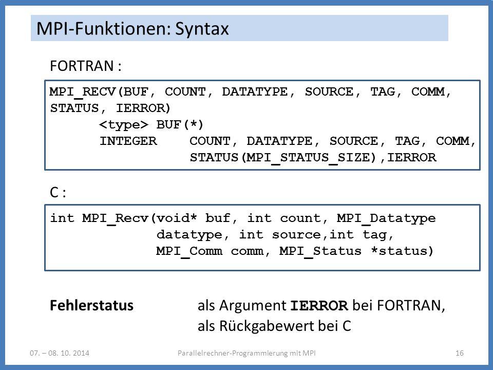 MPI-Funktionen: Syntax