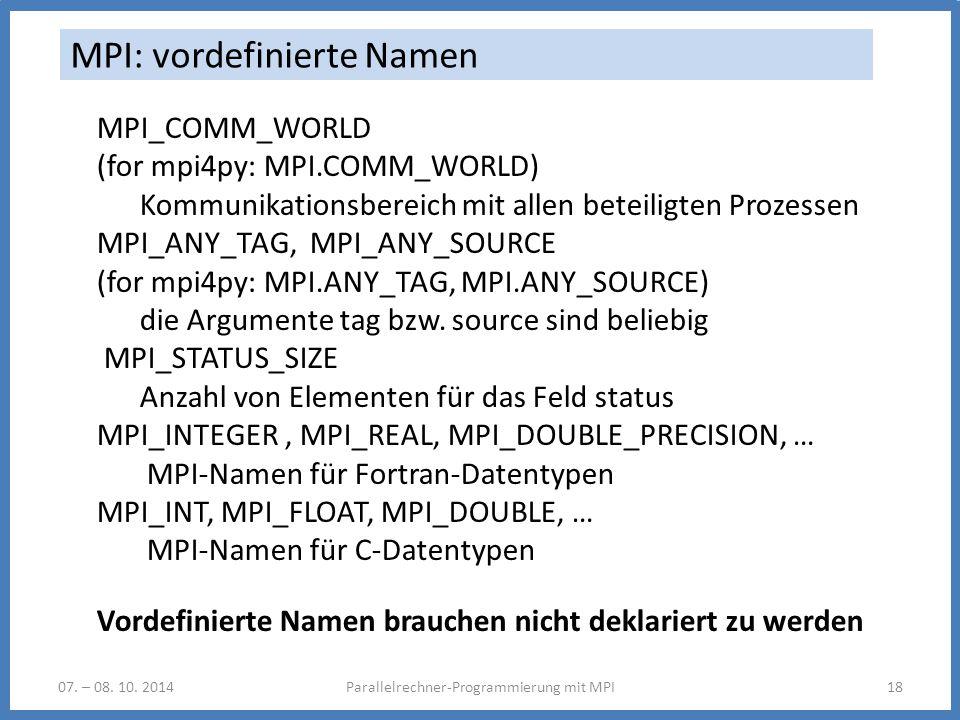 MPI: vordefinierte Namen