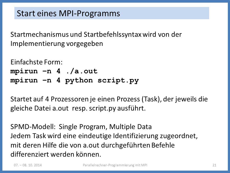 Start eines MPI-Programms