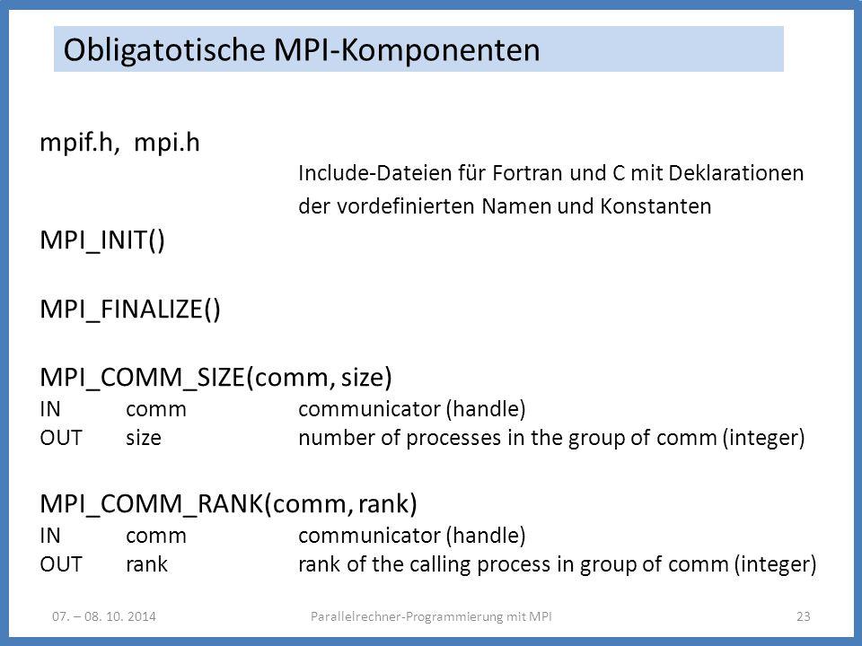 Obligatotische MPI-Komponenten