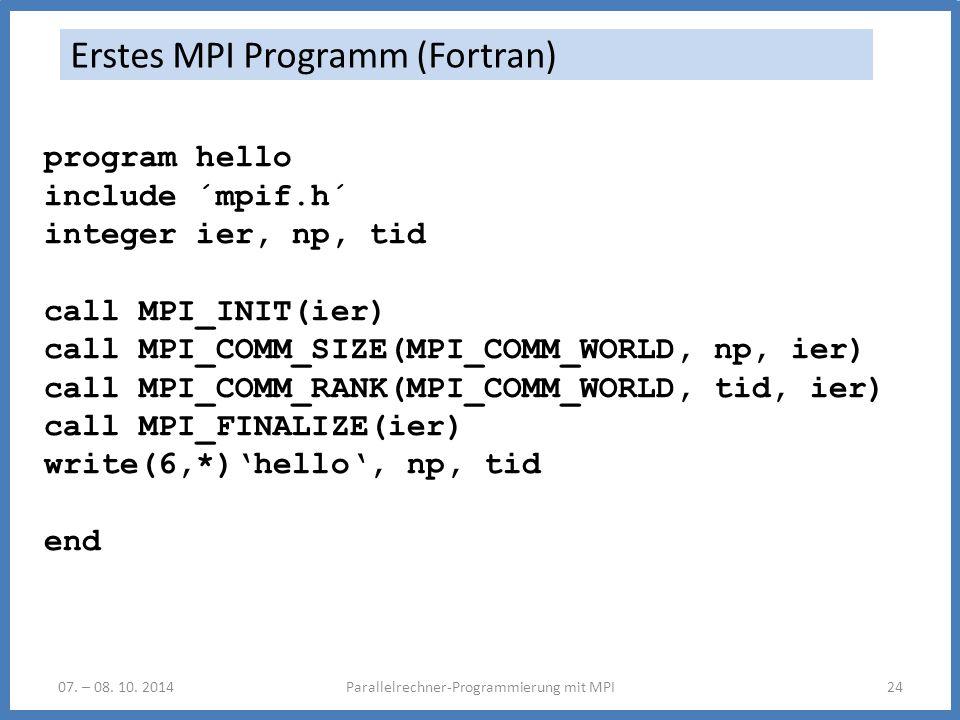 Erstes MPI Programm (Fortran)