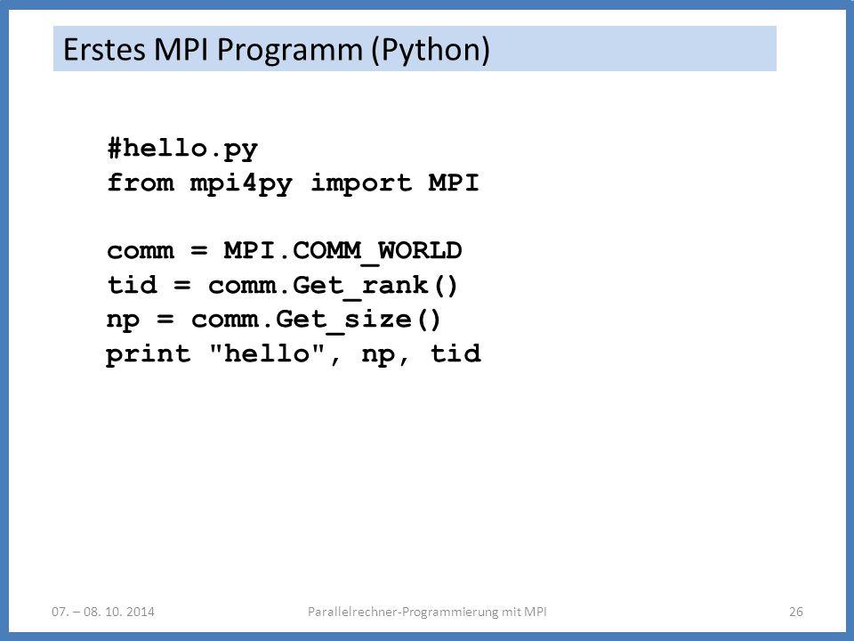 Erstes MPI Programm (Python)