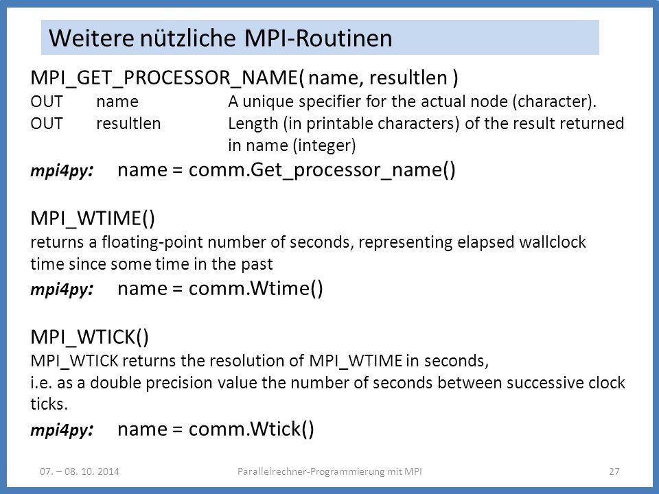 Weitere nützliche MPI-Routinen