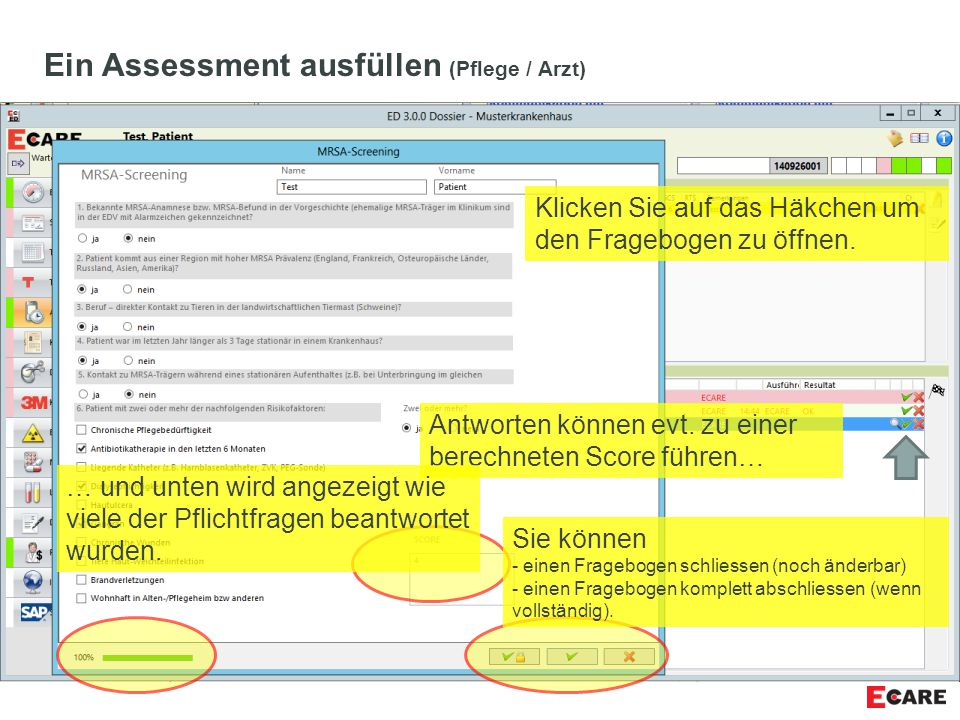 Ein Assessment ausfüllen (Pflege / Arzt)