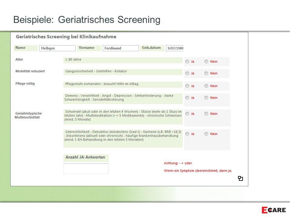 Beispiele: Geriatrisches Screening