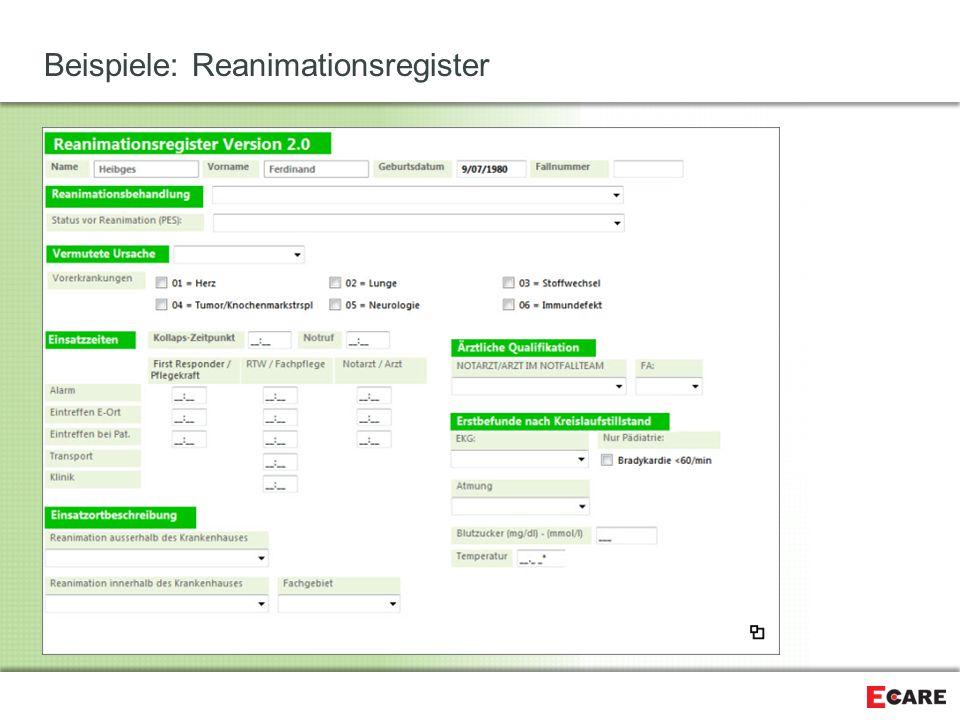 Beispiele: Reanimationsregister