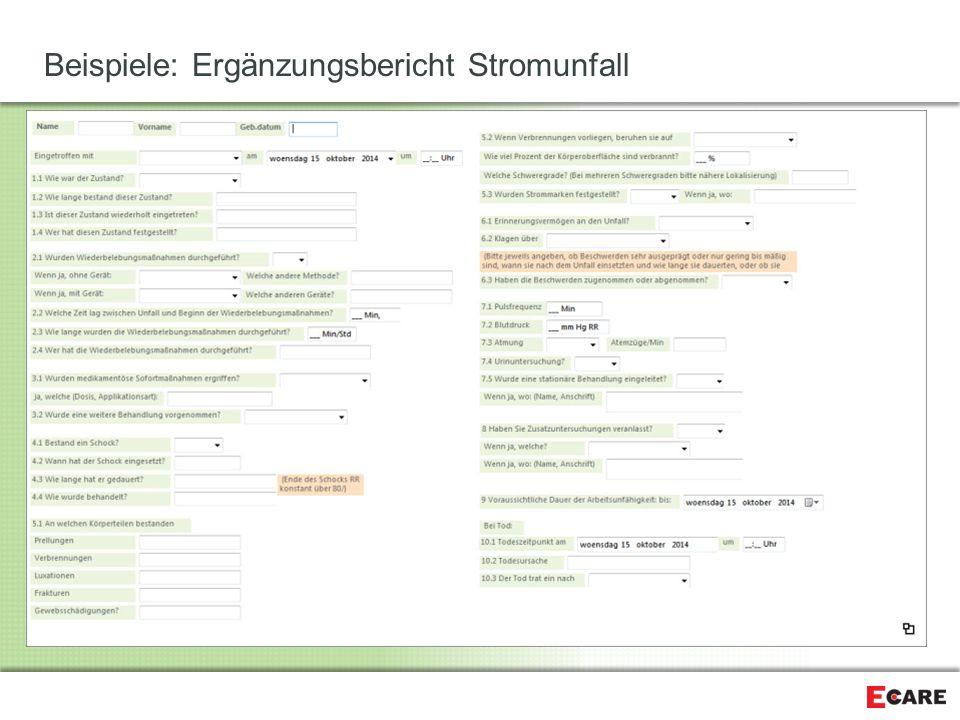 Beispiele: Ergänzungsbericht Stromunfall