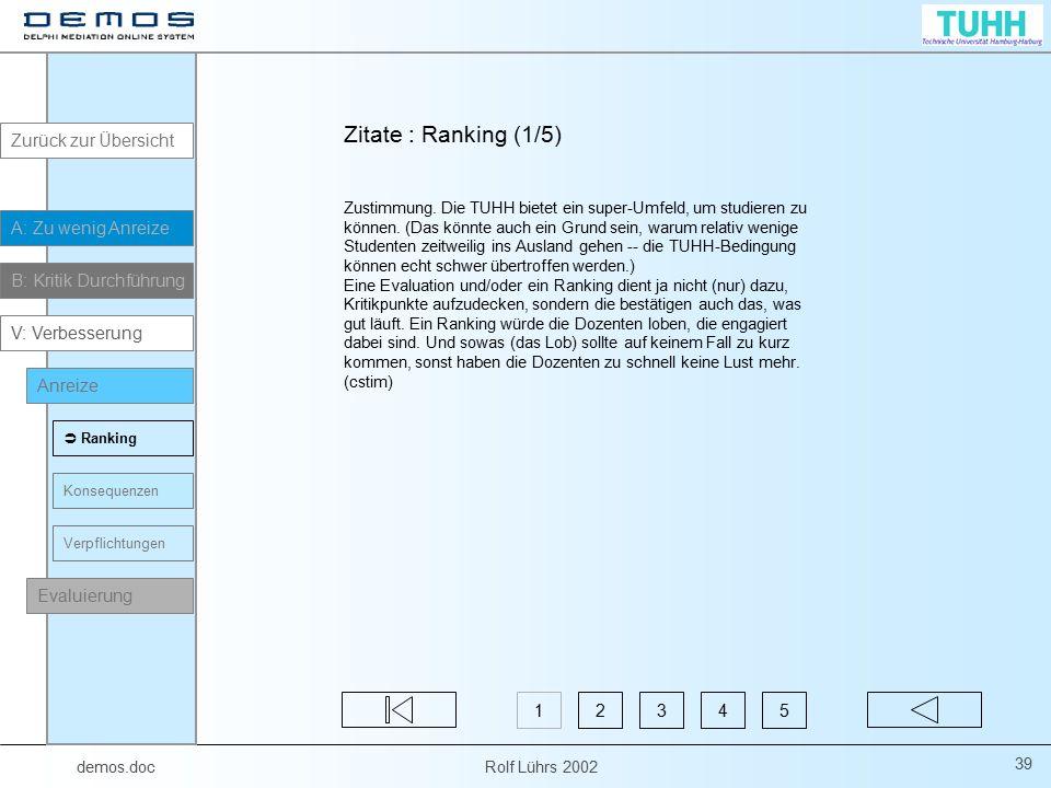 Zitate : Ranking (1/5) Zurück zur Übersicht A: Zu wenig Anreize